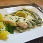 Bohnen-Lachs-Gratin mit Senfsahne