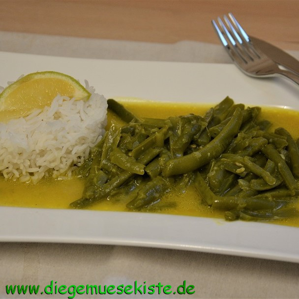 Grüne Bohnen in Kokos-Zitronen-Sauce