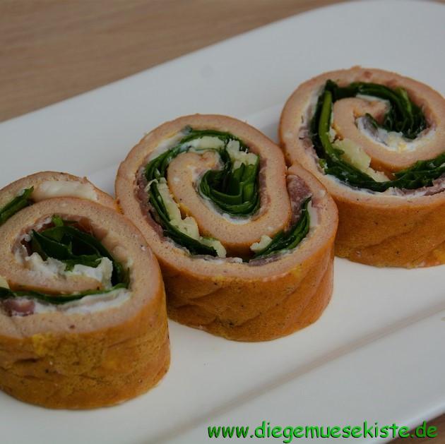 Italienische Omelette-Rolle mit Spinat
