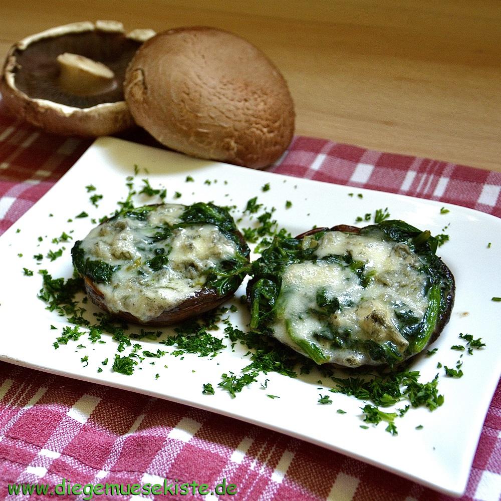 Portobellos mit Spinat-Gorgonzola-Füllung