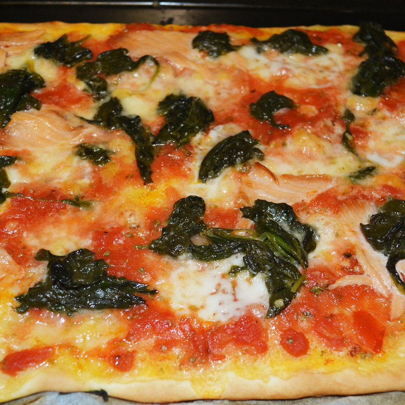 Pizza Spinat-Lachs